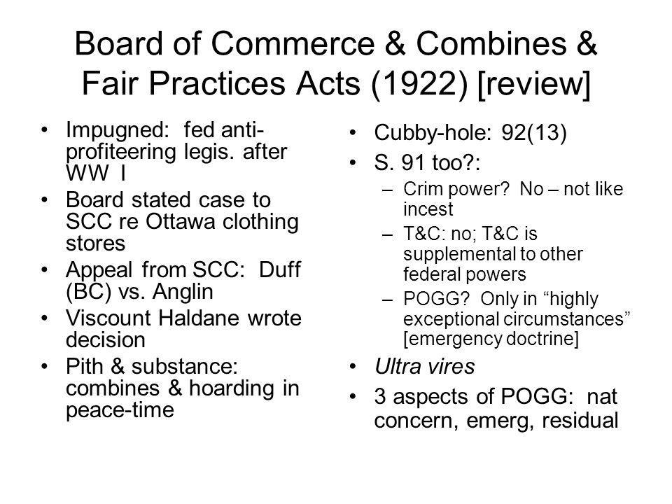 Board of Commerce & Combines & Fair Practices Acts (1922) [review]
